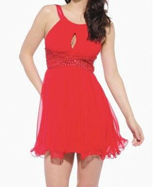 Clave agujero joya de gasa de color rojo 2013 vestido de verano de