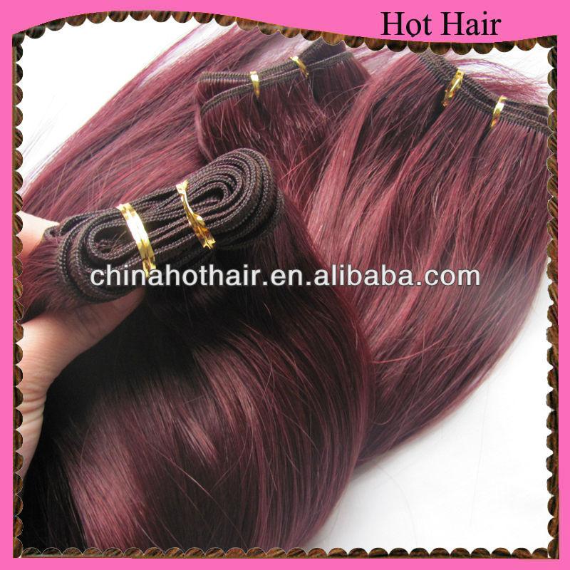 Qingdao_hair_factory_supply_burgundy_highlights_on_dark_brown_hair ...
