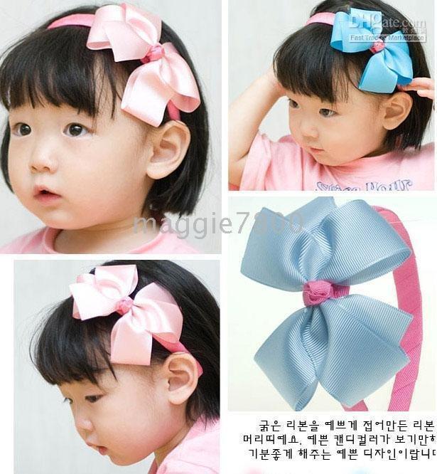 hair bows grosgrain ribbon hair band 100pcs/lot-in Hair Accessories