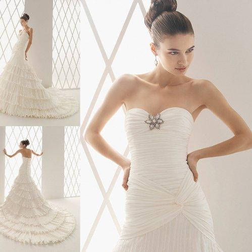 Train Sleeveless Beading Ivory Ruffles Wedding Dress Bridal Gown029