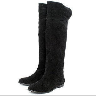 Black Suede Flat Knee High Boots