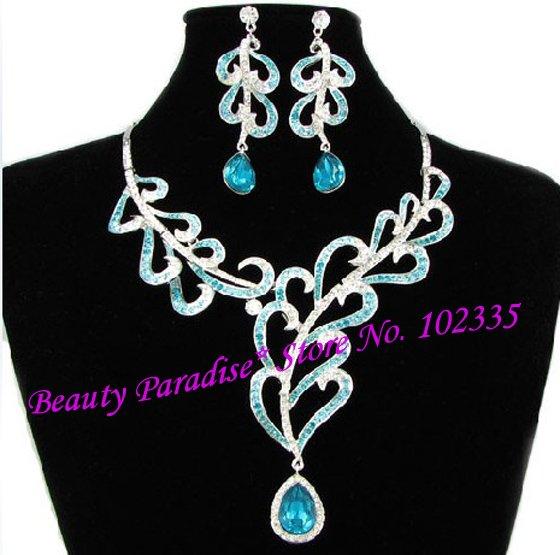 christmas gifts bridal jewlery set blue purple evening dress bridal gown