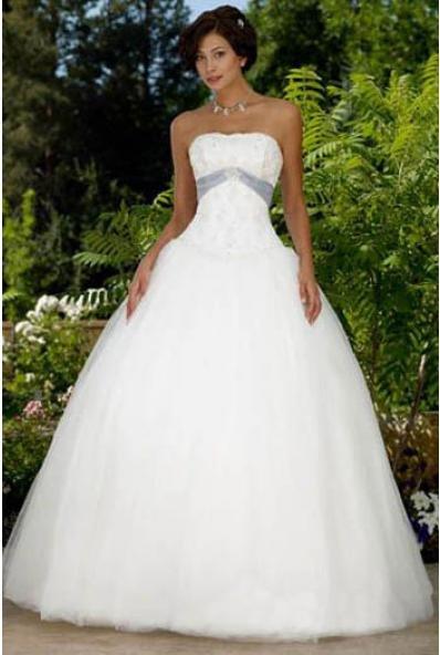 Floor Length Ball Gown Strapless Satin Tulle Wedding Dress