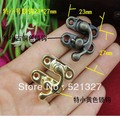 23 * 27MM special small antique buttons Cosmetic hasp latch hook lock horns lock yellow tin bronze