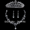 Free shipping water drop shape crystal bridal jewelry sets luxurious crystal crown cheap jewelry wedding accessory