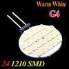 12V G4 Warm White 24 SMD 1210 LED Light Home Car RV Marine Boat LED Lamp Bulb Free Shipping