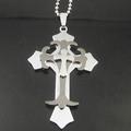 10pcs Free Shipping Tri-Cross Necklace Fashion rhinestone cross Jewelry Stainless Steel Cross chain Wholesale