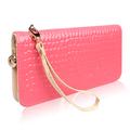 2013 long design zipper wallet mobile phone bag japanned leather stone pattern day clutch wallet women's