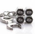 KIA Tire Valve Caps with Wrench Keychain