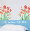 wall Stickers Tulip paper fresh green leaves Sticker home decor Sofa TV background stickers freeshipping F145