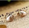 2014 Hot Selling Fashion Cheap Vintage Pearl Ladybug Earring Ear Stud XY-E148