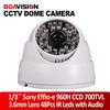 SONY 700TVL Effio-e COLOR CCD 48IR 3.6mm Lens wide angle CCTV Dome Camera  for 960H with audio