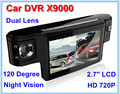 "5PCS New Portable Car Camera Dual Lens Vehicle DVR 720P Video camcorder Recorder 2.7"" LCD HDMI IR Night vision X9000 Free Ship"
