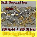 [MDL-010]500PCS/Pack Gold & Sliver 2X4mm Nail Metallic Decoration 3D Metal alloy Nail Art Decoration + Free Shipping