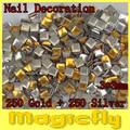 [MDL-002]500PCS/Pack Gold & Sliver 3X3mm Nail Metallic Decoration 3D Metal alloy Nail Art Decoration + Free Shipping
