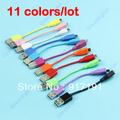 Wholesale 11colors/lot Travel Short USB To Micro Data Charger Cable For Nokia HTC Galaxy Moto
