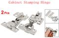 2 Pcs Silver Tone Furniture Hardware Self Closing Closet Drawer Cabinet Stamping Hinge