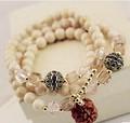 [Free Shipping] 2013 natural crystal stone walnut transhipped lucky evil multi-layer bracelets bracelet