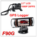 10PCS 2013 New Arrival F90G GPS Dual lens Car DVR Camera Recorder Full HD 1080P 20FPS 2.7 LCD HDMI H.264 158 Degree G-sensor