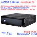 mini computer thin clients small server barebone system with fan dual nics gigabyte INTEL Pinetrail atom dual core D2550 1.86Ghz