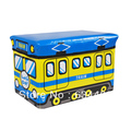 FREE SHIPPING Utility vehicles stool / toy storage stool / Storage Box Small (blue and yellow trains)