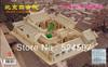 New promotion Kids Educational handicraft popular handmade decoration Beijing courtyard house 3D diy wooden puzzle toy WJ0122
