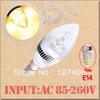 6pcs E14 6W 3x2W Warm White Home Candle Bulb LED Light Lamp 85-265V 110V 220V 230V Home Light