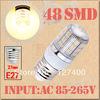 6pcs E27 Warm White 48 LED SMD Home Corn Bulb LED Light Lamp 85-265V 110V 220V 230V With Cover 3528