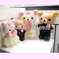 J1 Free shipping 20cm Rilakkuma wedding couple bear plush toy,couple wedding supply, 1pair