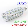 Hot selling SMD 24W E27 132PCS LEDs 2400LM AC85-265V White/ Warm White SMD LED Corn Light LED Corn Lamps