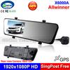 "New Arrival Car Rear View Mirror Camera Recorder Dual Lens DVR Car Black Box 4.3"" LCD +1920*1080P HD Rear Lens 1920*720P HD +GPS"