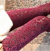 free shipping B41 new 2014 spring new extravagance pattern gold velvet leggings nine points Hollow lace flower