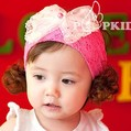 Free Shipping! baby princess hair accessory Headwear wig hair band girl children pearl lace big bowknot headbands 1pcs/lot