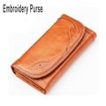 2014 Hot Sale Oil Waxing Female Clutch Purse Long Embroidery Flower Edge Design Evening Lady Bag Clutch Wallet Zipper Pocket