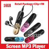 Screen Mp3 music Player 16G,FM+Record,152 Digital+Record,With Clip+Retail Package+can have logo 5 Colors,Free Shipping