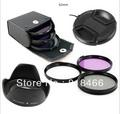 free shipping 62mm UV+CPL+FLD Lens Filter+lens cap+len hood for canon nikon pentax sony camera