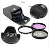 free shipping 49mm UV+CPL+FLD Lens Filter+lens cap+len hood for canon nikon pentax sony camera