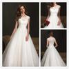 On Sale Free Shipping Empire A-line Empire Cap Sleeve Organza Lace High-Neck Ruched Floor-Leanth Wedding Dress Vestido de Novia
