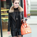 2013 autumn and winter female leather coat jacket leather clothing l plus cotton short design slim raccoon fur jacket outerwear
