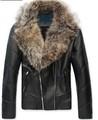 new fashion men's hot sale fur collar warm zipper winter PU leather coat