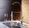 Free Shipping Wholesale And Retail Promotion NEW Deck Mounted Chrome Brass Kitchen Faucet Swivel Spout Vessel Sink Mixer Tap
