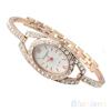 Fashion Minimalism Ladies Women Rhinestone Watch Golden Stainless Steel Wrist Watches Items