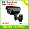CMOS Sensor 1200TVL Outdoor Weatherproof CCTV Camera 42LED 2.8-12mm Zoom Lens OSD Menu Surveillance Video Camera