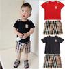 cheapest children baby boys short clothes suits set kids gentleman summer shirt tshirt+ pants+tie sets suit