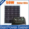 Free Shipping Monocrystalline 50W 18V PV Solar Panel, Solar Module + 20A 12V 24V Auto Adjustable Solar Charge Controller