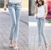 new 2014 autumn-summer wear blue retro finishing hole diamond butt lifting pencil jeans 6 size