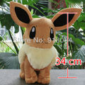 Best Selling 13.4 inch Japanese Cartoon Anime Pokemon Eevee Baby Animal Stuffed Plush Doll Child Toy For Gift Free Shipping