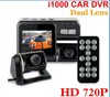 HD 720P Dual Lens Car DVR I1000 G-Sensor + H.264 + MOV Video Recorders + 120 degree ultra wide angle lens Camcorder Car Camera