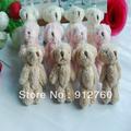 6cm Free Shipping 100pcs/lot Cartoon Long Wool Plush Mini Joint Bear Bare Teddy Bear For Key/Phone/Bag Stuffed Dolls