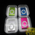 Free Shipping Mini Clip mp3 player support micro sd card with Gift box+Earphone+USB cable